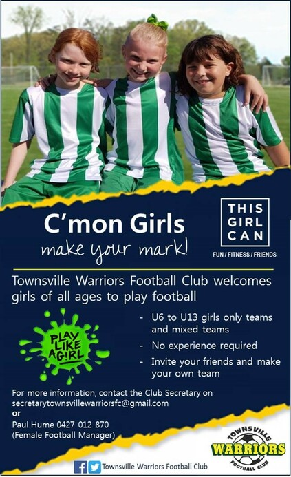 Townsville Warriors Football Club Flyer - U6 to U13 Girls